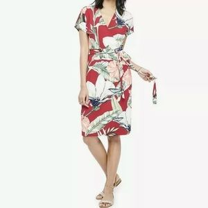 Ann Taylor Size 8 Tropical Palm Floral Wrap Dress